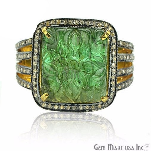 Victorian Estate Ring, 1775 cts Natural Emerald with 054 cts of Diamond as Accent Stone (DR-12100)
