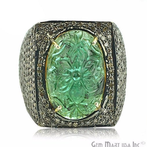 Victorian Estate Ring, 12 cts Natural Emerald with 220 cts of Diamond as Accent Stone (DR-12101)