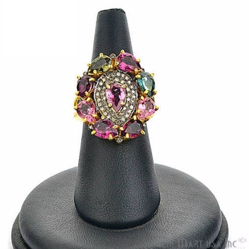 Victorian Estate Ring, 6 cts Multi Stone with 035 cts of Diamond as Accent Stone (DR-12103)