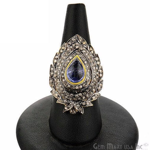 Victorian Estate Ring, 328 cts Sapphire with 090 cts of Diamond as Accent Stone (DR-12105)