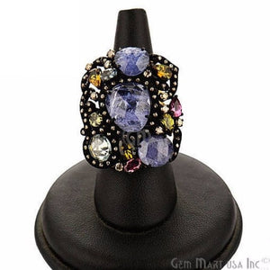 Victorian Estate Ring, 10.66 cts Mix Sapphire with 0.60 cts of Diamond as Accent Stone (DR-12109) - GemMartUSA