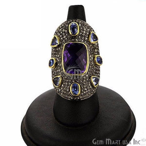 Victorian Estate Ring, 12.41 cts Amethyst & Tanzanite with 1.20 cts of Diamond as Accent Stone (DR-12114)
