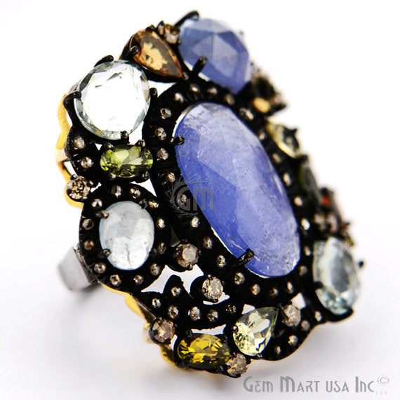 Victorian Estate Ring, 14 cts Multi Stone with 060 cts of Diamond as Accent Stone (DR-12117)