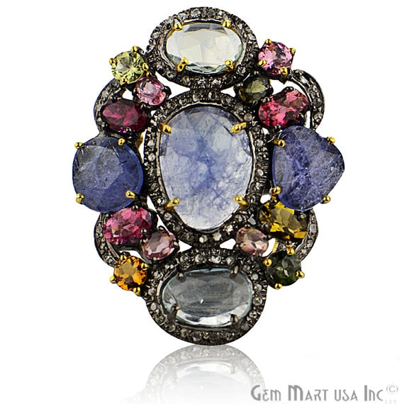 Victorian Estate Ring, 1256 cts Multi Stone with 050 cts of Diamond as Accent Stone (DR-12126)