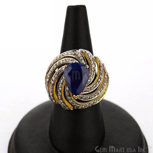 Victorian Estate Ring, 1256 cts Sapphire with 120 cts of Diamond as Accent Stone (DR-12142)