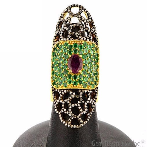 Victorian Estate Ring, 390 cts Ruby & Emerald with 112 cts of Diamond as Accent Stone (DR-12145)