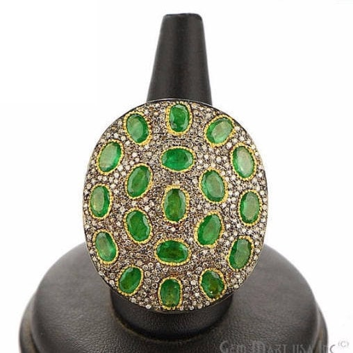 Victorian Estate Ring, 787 cts Emerald with 179 cts of Diamond as Accent Stone (DR-12146)