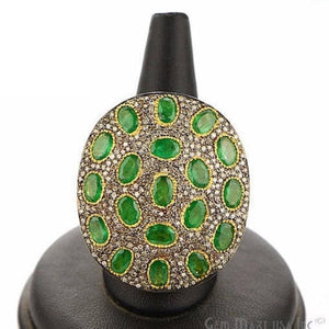 Victorian Estate Ring, 7.87 cts Emerald with 1.79 cts of Diamond as Accent Stone (DR-12146) - GemMartUSA