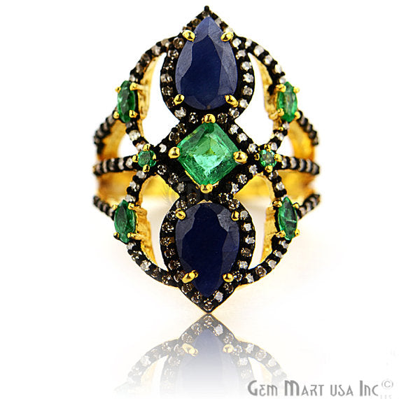 Victorian Estate Ring, 765 cts Emerald & Sapphire with 075 cts of Diamond as Accent Stone (DR-12147)