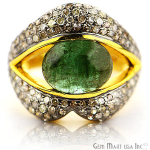 Victorian Estate Ring, 4.70 cts Emerald with 2.38 cts of Diamond as Accent Stone (DR-12149) - GemMartUSA