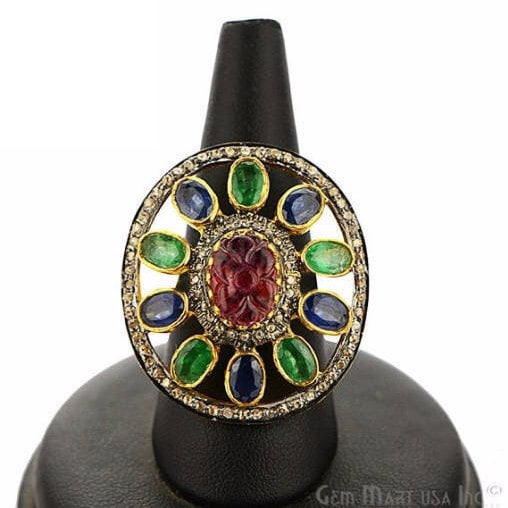 Victorian Estate Ring, 2058 cts Multi Stone with 236 cts of Diamond as Accent Stone (DR-12151)