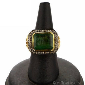 Victorian Estate Ring, 8.15 cts Emerald with 0.73 cts of Diamond as Accent Stone (DR-12153) - GemMartUSA