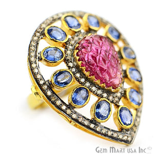 Victorian Estate Ring, 29.48 cts Ruby & Sapphire with 2.28 cts of Diamond as Accent Stone (DR-12154) - GemMartUSA