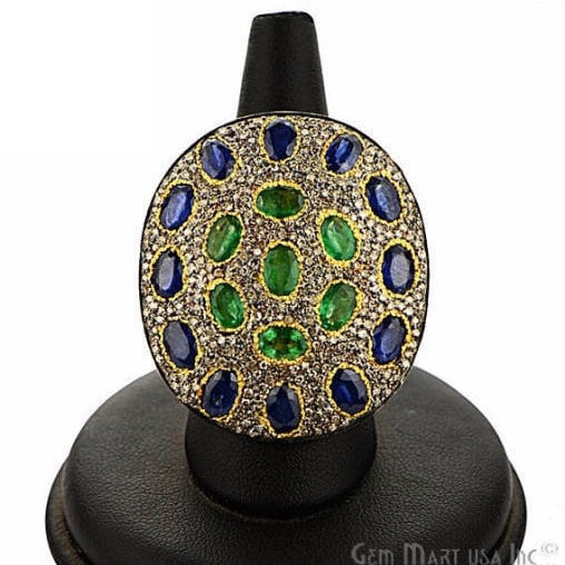 Victorian Estate Ring, 966 cts Emerald & Sapphire with 193 cts of Diamond as Accent Stone (DR-12156)
