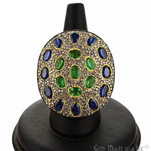 Victorian Estate Ring, 9.66 cts Emerald & Sapphire with 1.93 cts of Diamond as Accent Stone (DR-12156) - GemMartUSA