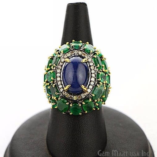 Victorian Estate Ring, 1846 cts Emerald & Sapphire with 081 cts of Diamond as Accent Stone (DR-12157)