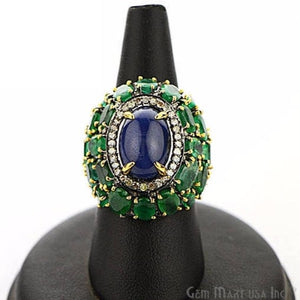 Victorian Estate Ring, 18.46 cts Emerald & Sapphire with 0.81 cts of Diamond as Accent Stone (DR-12157) - GemMartUSA