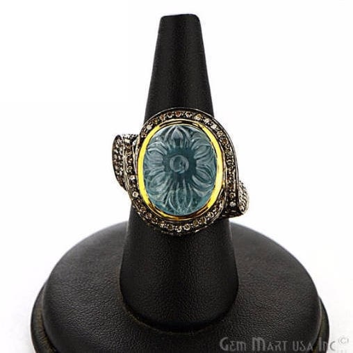 Victorian Estate Ring, 1445 cts Aquamarine with 242 cts of Diamond as Accent Stone (DR-12158)