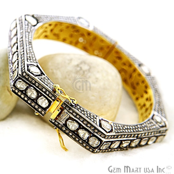Victorian Estate Bangle, 819 cts Sliced Diamond, With 850 cts of Diamond as Accent Stone