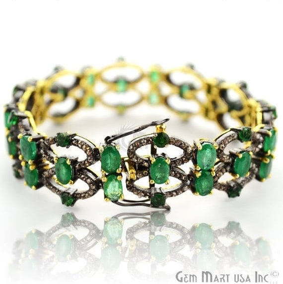 Victorian Estate Bracelet, 15 cts Natural Emerald, With 4.15 cts of Diamond as Accent Stone (DR-12172)