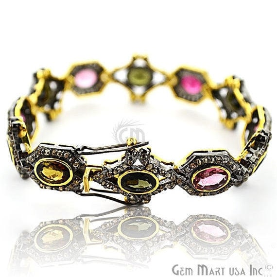 Victorian Estate Bracelet, 13.40 cts Multi Stone, With 3.70 cts of Diamond as Accent Stone (DR-12174)