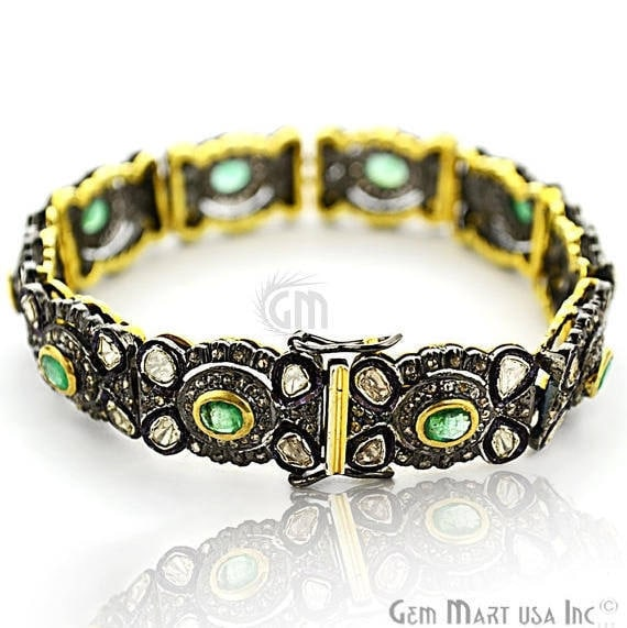 Victorian Estate Bracelet, 3 cts Natural Emerald, 15.5 cts of Sliced Diamond With 2 cts of Diamond as Accent Stone (DR-12178)