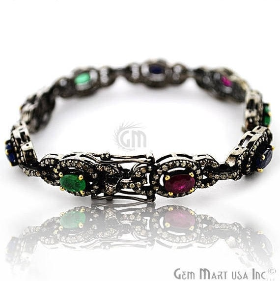 Victorian Estate Bracelet, 5.24 cts Multi Stone, With 3.20 cts of Diamond as Accent Stone (DR-12180)