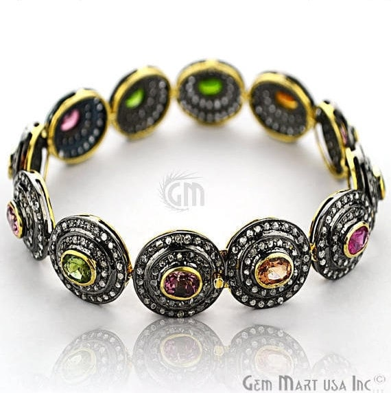 Victorian Estate Bracelet, 8.13 cts Multi Stone, With 2.60 cts of Diamond as Accent Stone (DR-12181)