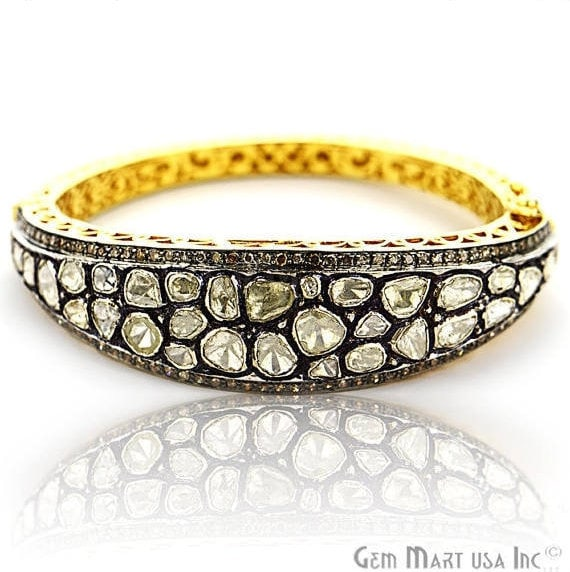 Victorian Estate Bangle, 313 cts Sliced Diamond, With 130 cts of Diamond as Accent Stone (DR-12188)