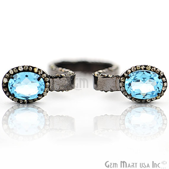Victorian Estate Ring, 685 cts Blue Topaz with 190 cts of Diamond as Accent Stone (DR-12193)