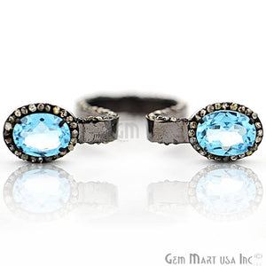 Victorian Estate Ring, 6.85 cts Blue Topaz with 1.90 cts of Diamond as Accent Stone (DR-12193) - GemMartUSA