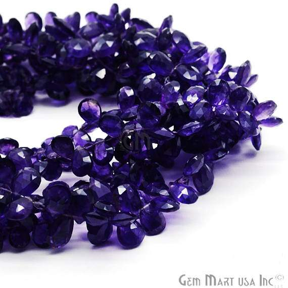 Amethyst Rondelle Drops Faceted Gemstone Beads Jewelry Making Supplies (DRAM-70006)
