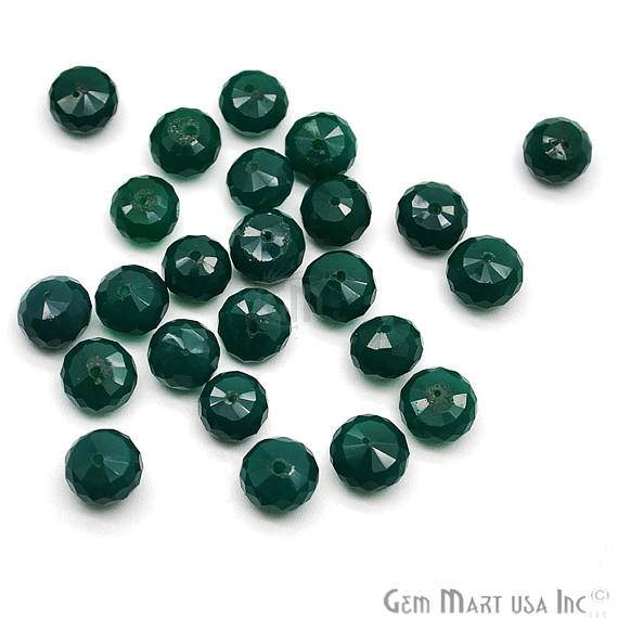 Green Onyx Faceted Square Gemstone Rondelle Beads Jewelry Making Supplies (DRGO-70002)