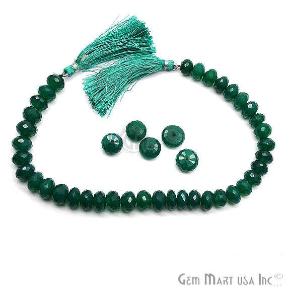 Green Onyx Faceted Square Gemstone Rondelle Beads Jewelry Making Supplies (DRGO-70003)