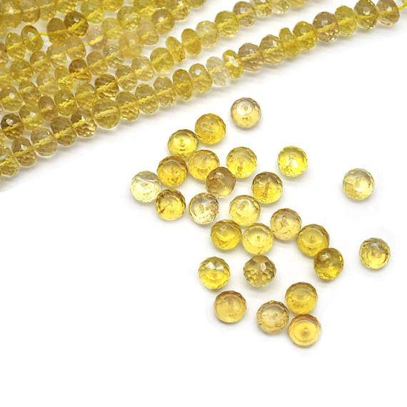 Lemon Topaz Faceted Round Gemstone Rondelle Beads Jewelry Making Supplies (DRLT-70001)