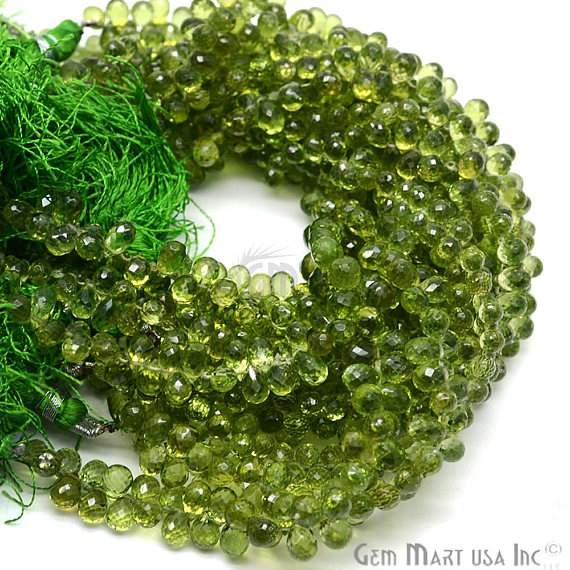 Peridot Faceted Drops Gemstone Rondelle Beads Jewelry Making Supplies (DRPT-70004)