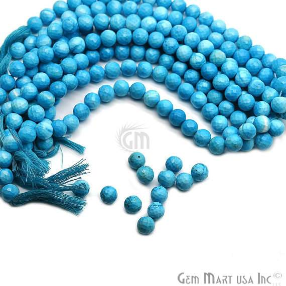 Turquoise Faceted Round Gemstone Rondelle Beads Jewelry Making Supplies (DRTQ-70002)