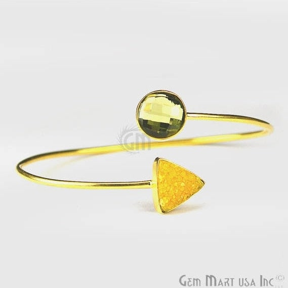 Lemon Topaz & Yellow Druzy Handmade Adjustable Gold Plated Bangle Bracelet