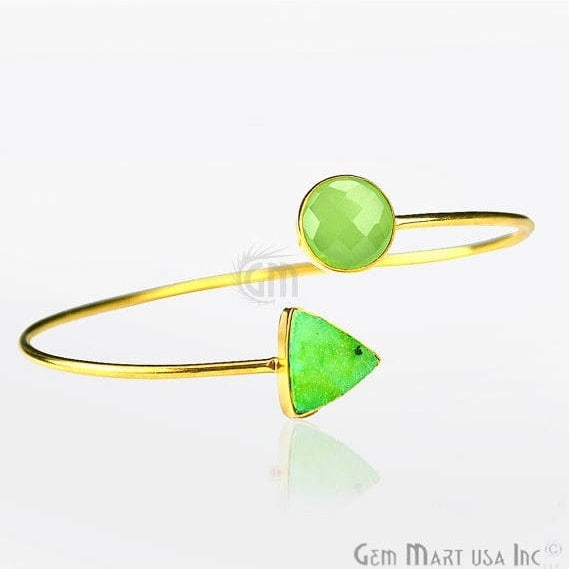 Green Chalcedony With Green Druzy Adjustable Gold Plated Bangle Bracelet