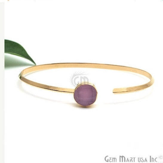 Rose chalcedony Gemstone Handmade Adjustable Gold Plated Stacking Bangle Bracelet