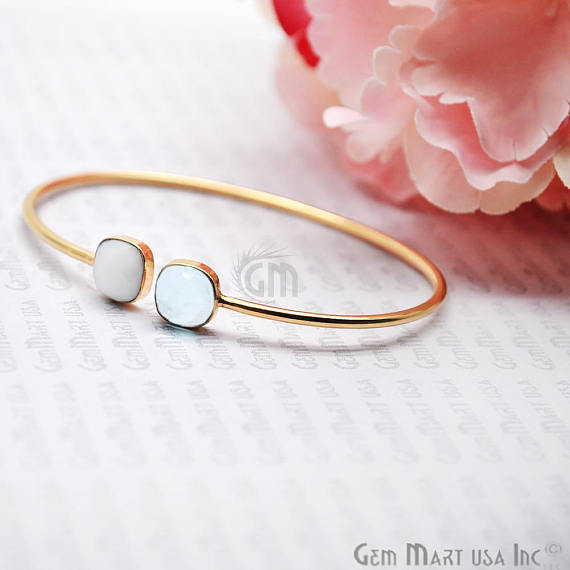 White Agate & Hydro Blue Topaz Cushion Shape Adjustable Gold Plated Bangle Bracelet