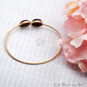 Ruby 14mm Round Shape Adjustable Interlock Gold Plated Stacking Bangle Bracelet - GemMartUSA
