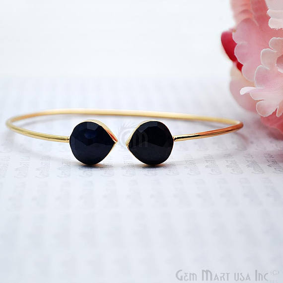 Sapphire 12mm Heart Shape Adjustable Interlock Gold Plated Stacking Bangle Bracelet