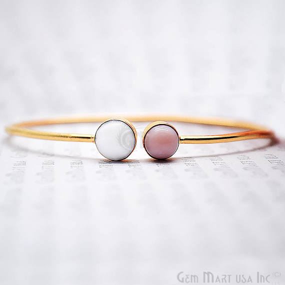 White Agate & Pink Opal Round Shape Adjustable Interlock Gold Plated Stacking Bangle Bracelet