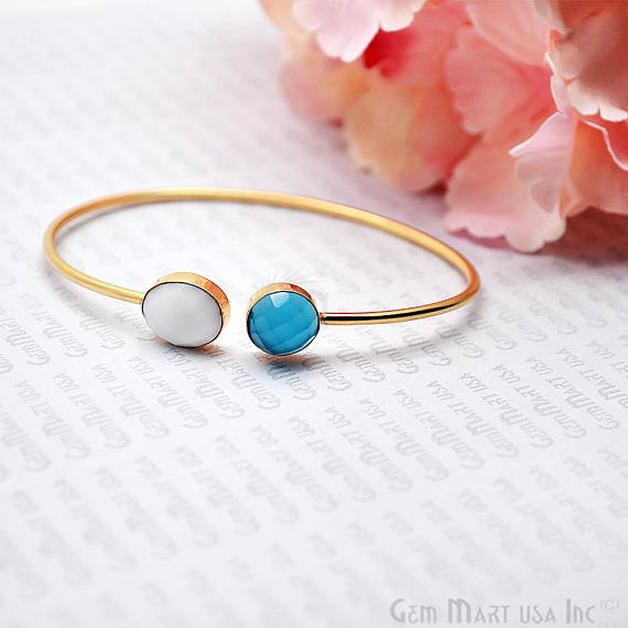 Sky Blue Chalcedony & White Agate Adjustable Interlock Gold Plated Stacking Bangle Bracelet