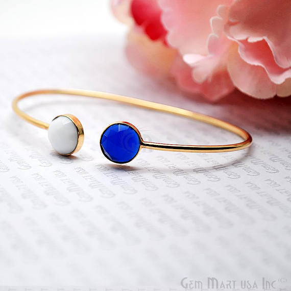 White Agate & Blue Chalcedony Round Shape Adjustable Gold Plated Bangle Bracelet