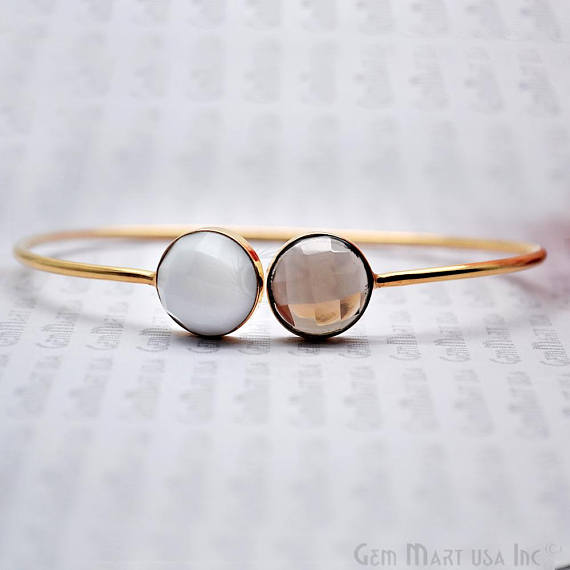 White Agate & Smoky Topaz 12mm Round Adjustable Interlock Gold Plated Bangle Bracelet