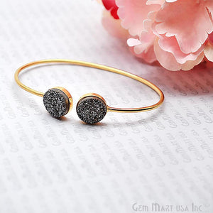 Platinum Druzy Round Shape Adjustable Gold Plated Bangle Bracelet - GemMartUSA
