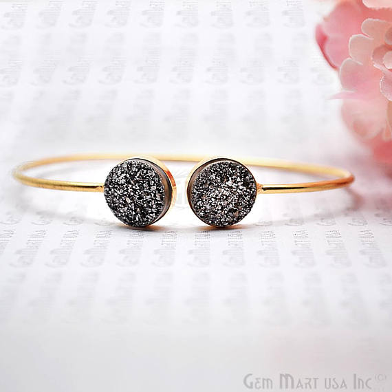 Platinum Druzy Round Shape Adjustable Gold Plated Bangle Bracelet