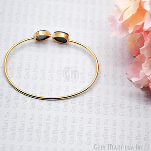 Elegant Double Pears Druzy Gemstone Adjustable Gold Plated Stacking Bangle Bracelet - GemMartUSA